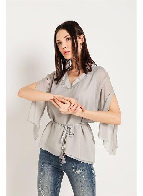 Fracomına V Yaka Belden Bağlamalı Bluz Renkli